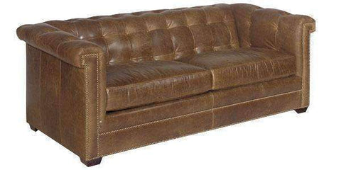 "Leather Furniture Hyde ""Designer Style"" Vintage Tufted Back Sofa"