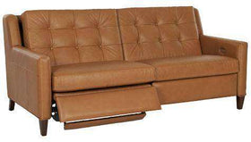 Leather Furniture Lowry Mid-Century Modern Power Wall Hugger Reclining Loveseat