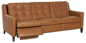 Leather Furniture Lowry Mid-Century Modern Power Wall Hugger Reclining Sofa
