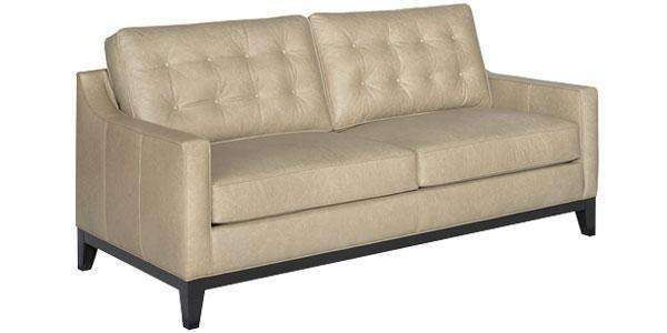 "Leather Furniture Lyons ""Designer Style"" Apartment Size Mid-Century Modern Button Back Sofa"