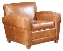 "Leather Furniture Madison ""Designer Style"" Art Deco Low Profile Leather Club Chair"