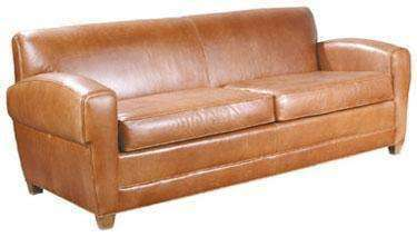 "Leather Furniture Madison ""Designer Style"" Parisian Art Deco Two Seat Leather Sofa"