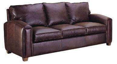 "Leather Furniture Manhattan ""Designer Style"" Pillow Back Leather Sofa"