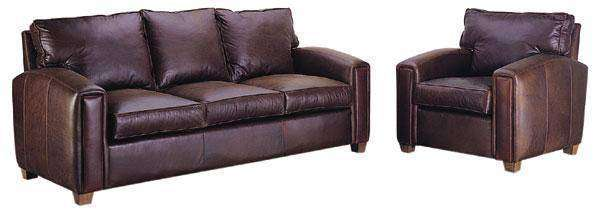 "Leather Furniture Manhattan ""Designer Style"" Pillow Back Leather Sofa Set"