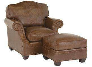 "Leather Furniture Merrill ""Designer Style"" Arched Back Leather Chair w/ Inset Arms"