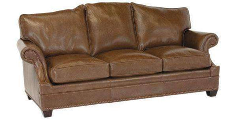 "Leather Furniture Merrill ""Designer Style"" Arched Back Leather Couch w/ Inset Arms"