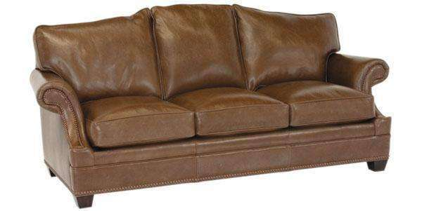 "Leather Furniture Merrill ""Designer Style"" Arched Back Leather Loveseat w/ Inset Arms"