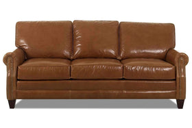 Oswald 83 Inch Classic Rolled Arm Leather Couch w/ Decorative Nailhead Trim