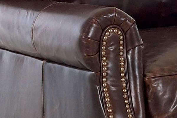 Leather Furniture Oswald Classic Rolled Arm Leather Couch w/ Decorative Nailhead Trim