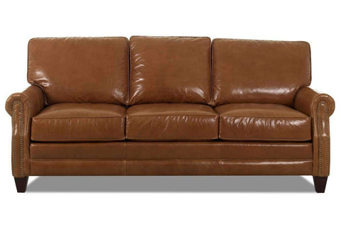 Leather Furniture Oswald Leather Loveseat w/ Decorative Nailhead Trim