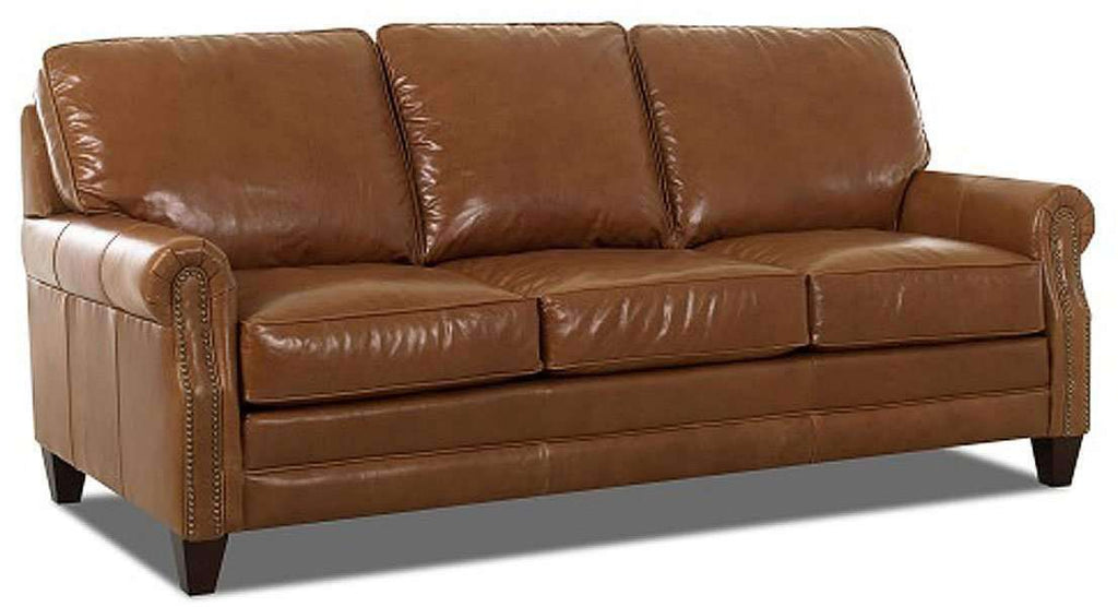 Oswald Rolled Arm Leather Sofa Set With Nailhead Trim