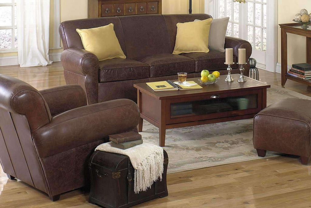 ... Leather Furniture Parker Leather Manhattan Style 3 Piece Living Room  Sofa Set ...