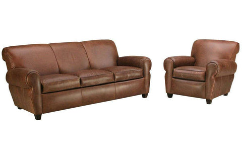 Leather Furniture Parker Leather Queen Sleeper Sofa And Reclining Chair 2 Piece Set