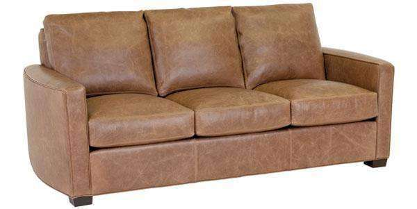 "Leather Furniture Quinlan ""Designer Style"" Curved Arm Leather Apartment Sofa"