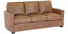 "Leather Furniture Quinlan ""Designer Style"" Curved Arm Leather Sofa"