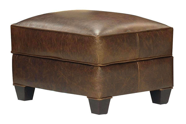 "Leather Furniture Rockefeller ""Designer Style"" Leather Ottoman"