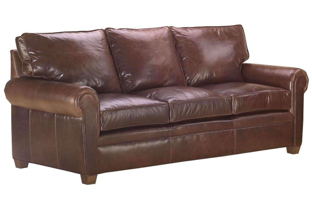 Rockefeller Designer Style Classic Rolled Arm Leather Sofa Collection