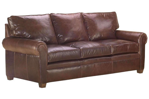 "Leather Furniture Rockefeller ""Designer Style"" Traditional Leather Pillowback Sofa"