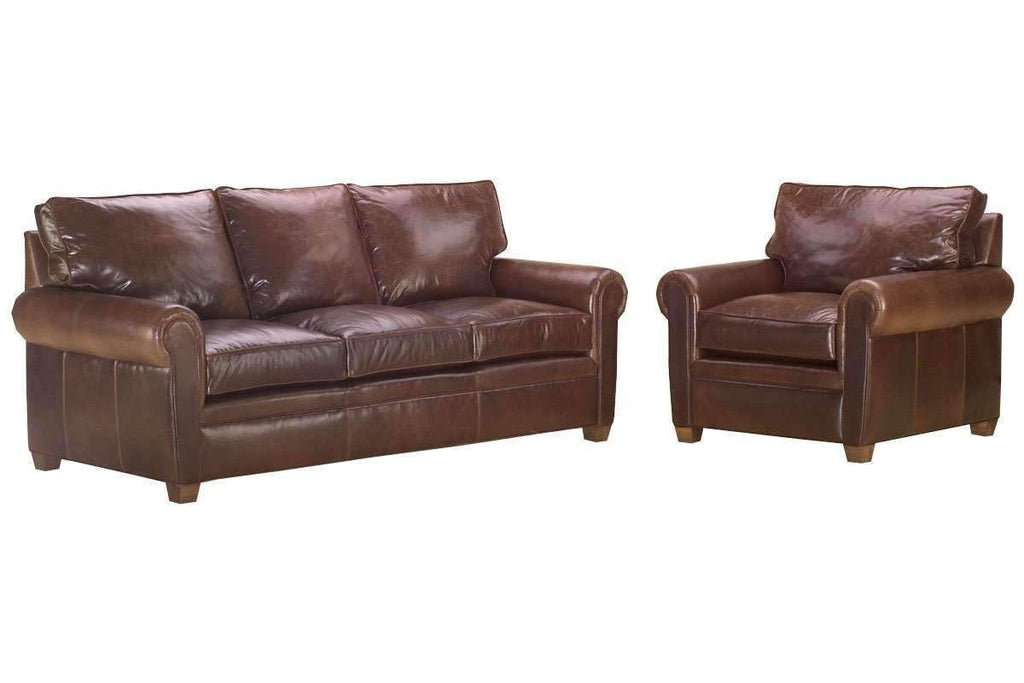 Rockefeller Designer Style Traditional Leather Queen Sleeper Sofa Set