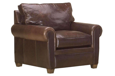 "Leather Furniture Rockefeller ""Designer Style"" Traditional Leather Rolled Arm Club Chair"