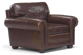 Bon Leather Furniture Sheffield Large Leather Club Chair With Rolled Arms ...