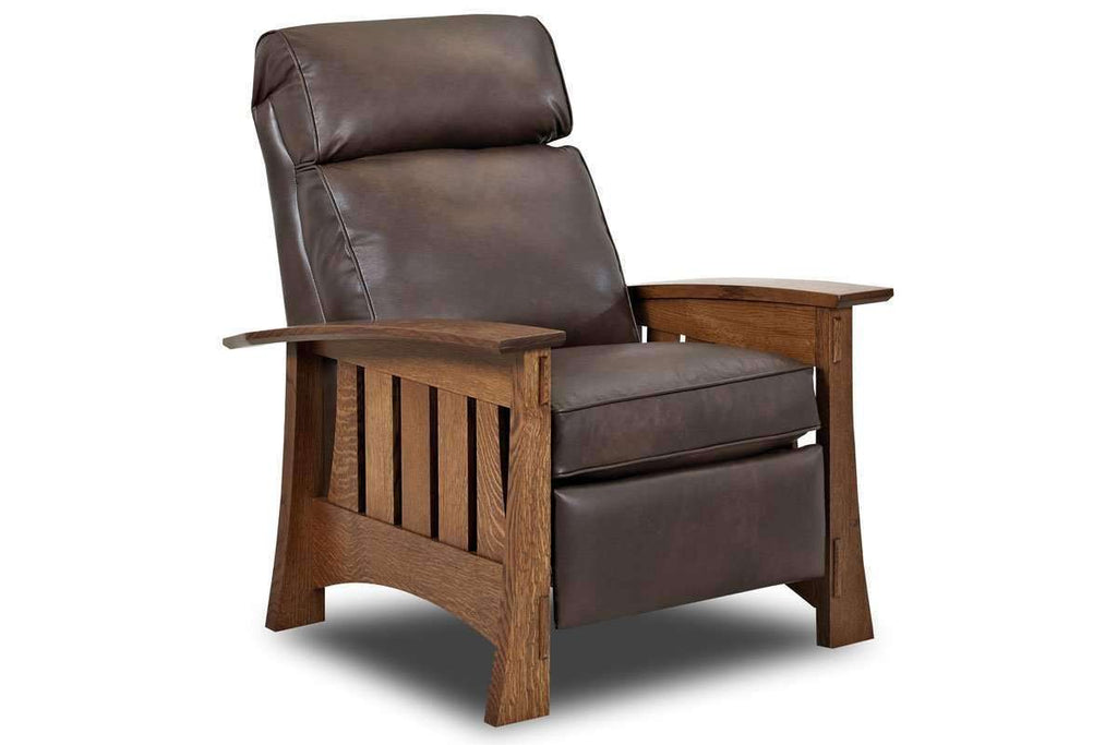 Leather Furniture Stockton Leather Mission Arts And Crafts Style Reclining  Chair ...