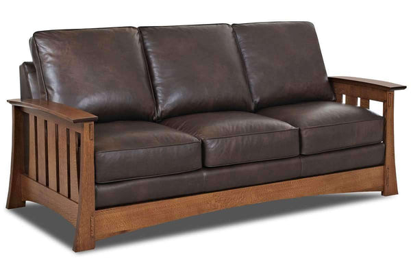 Stockton Leather Mission Style Pillow Back Sofa