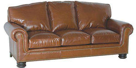 "Leather Furniture Theodore ""Designer Style"" Traditional Three Seat Leather Sofa"