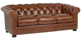 Leather Furniture Thurston Deep Button Tufted Leather Chesterfield Style Cigar Sofa