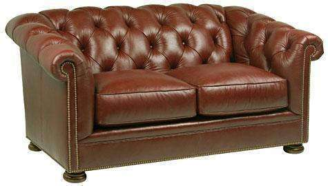 Leather Furniture Thurston Leather Chesterfield Nail Head Loveseat