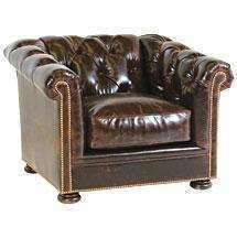 Leather Furniture Thurston Leather Deep Button Tufted Club Chair