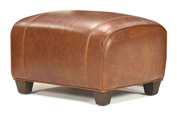 Leather Furniture Tribeca Rustic Leather Footstool Ottoman