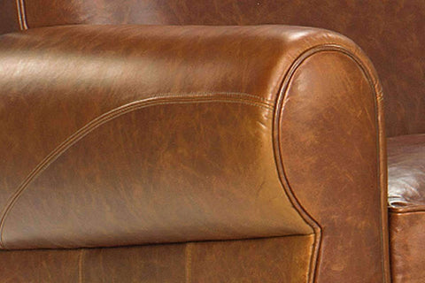 Leather Furniture Tribeca Rustic Leather Rolled Tight Back 2 Seat Cigar Loveseat