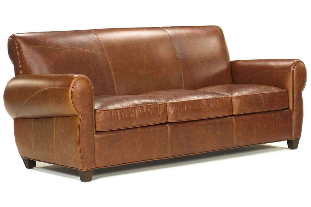 Leather Furniture Tribeca Rustic Leather Rolled Tight Back Cigar Sofa ...