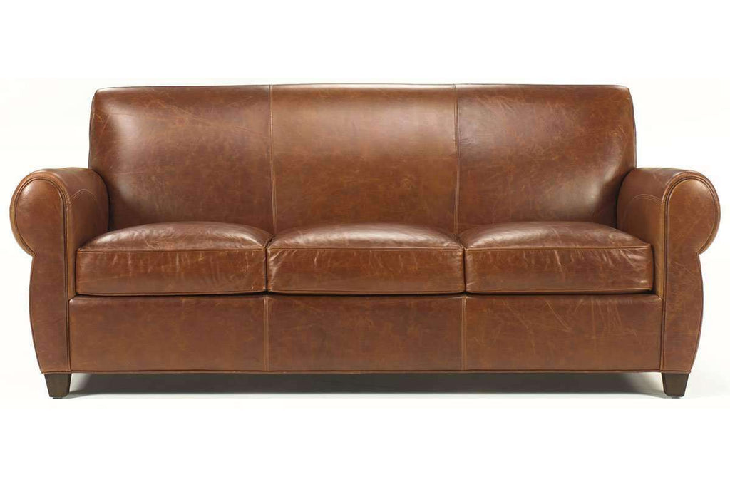 Tribeca 83 Inch Rustic Leather Rolled Tight Back Cigar Sofa