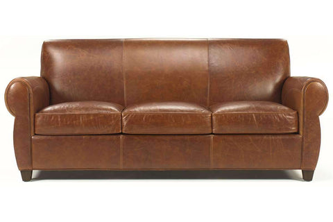 Leather Furniture Tribeca Rustic Leather Rolled Tight Back Cigar Sofa