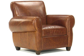 Leather Furniture Tribeca Rustic Leather Tight Back Club Chair ...