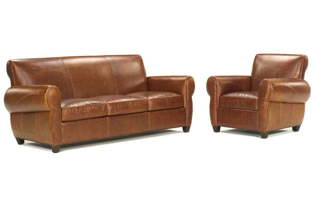 Picture of: Tribeca Rustic Sleep Sofa And Reclining Leather Club Chair Set