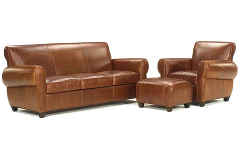 Leather Furniture Tribeca Rustic Three PIece Leather Queen Sleeper Sofa Set