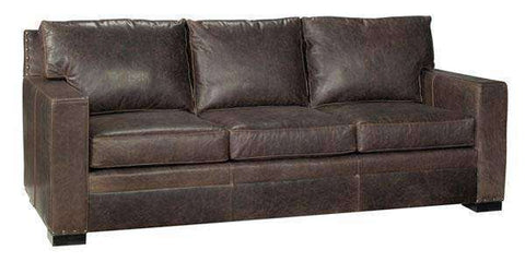 Leather Furniture Wellington Large Square Arm Leather Pillow Back Couch With Nails