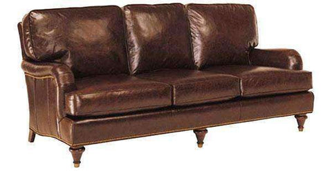 "Leather Furniture Wesley ""Designer Style"" Traditional English Arm Leather Sofa w/ Nailed Trim"