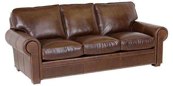 Wyatt Designer Style Traditional Leather Couch w/ Nailheads