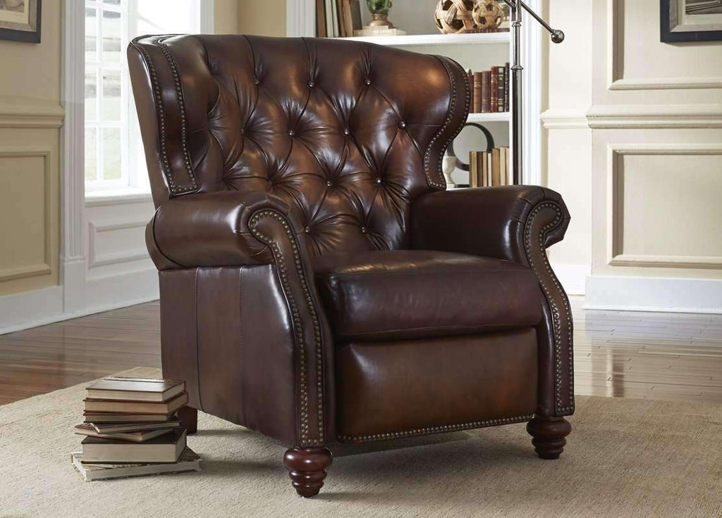 Picture of: Arthur Chesterfield Leather Wingback Recliner Tufted Reclining Chair