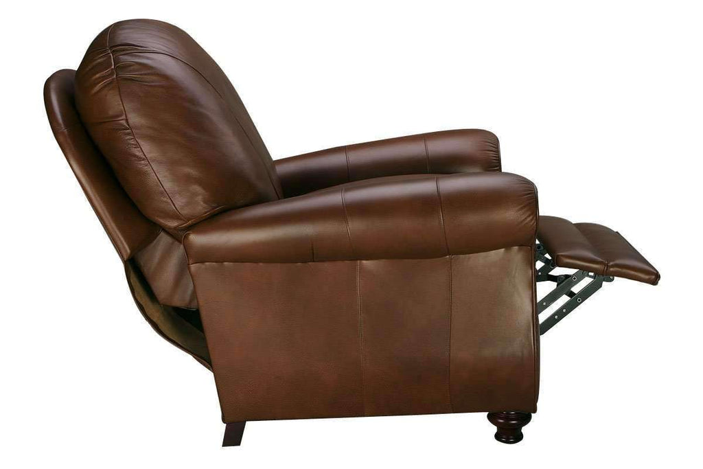 Blake Leather Pillow Round Back Recliner With Flared Arms