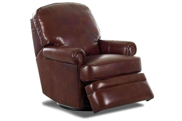 Curtis Leather Reclining Pillow Back Swivel Glider Chair