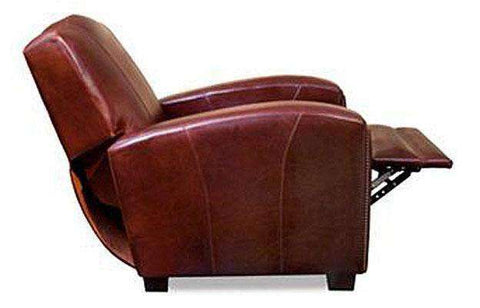 "Leather Recliner Marvin ""Designer Style"" Leather Art Deco Camel Back Recliner"