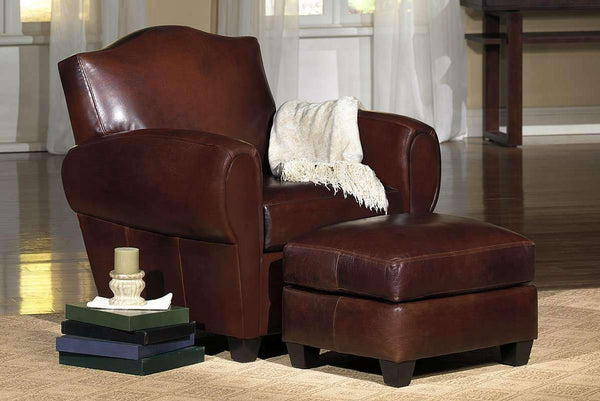 Parisian Camel Back Leather Reclining Chair