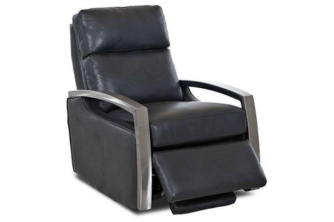 Leather Recliner Todd Modern Swivel Leather Recliner With Platinum Finish Arms