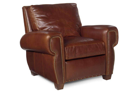 Leather Recliner Weston Rustic Leather Pillow Back Recliner With Nails