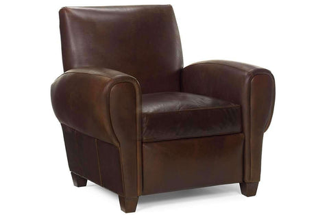 Leather Recliner Zachary Leather Reclining Tight Back Cigar Club Chair